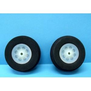 Paire de roue en mousse dense 80 mm